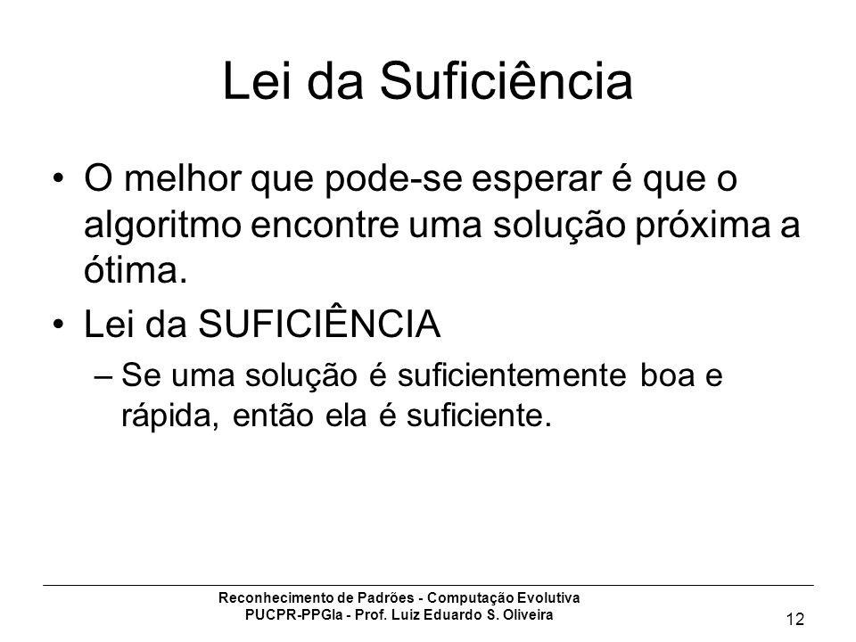 Reconhecimento de Padrões - Computação Evolutiva PUCPR-PPGIa - Prof. Luiz Eduardo S. Oliveira 12 Lei da Suficiência O melhor que pode-se esperar é que