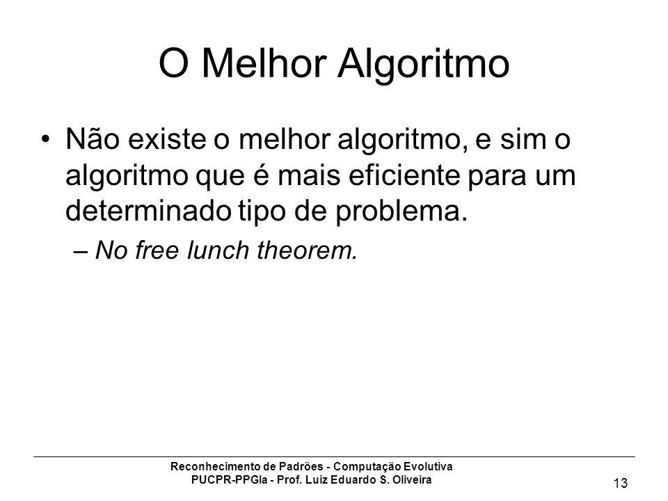 Reconhecimento de Padrões - Computação Evolutiva PUCPR-PPGIa - Prof. Luiz Eduardo S. Oliveira 13 O Melhor Algoritmo Não existe o melhor algoritmo, e s
