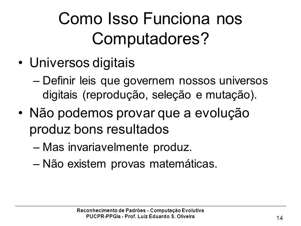 Reconhecimento de Padrões - Computação Evolutiva PUCPR-PPGIa - Prof. Luiz Eduardo S. Oliveira 14 Como Isso Funciona nos Computadores? Universos digita