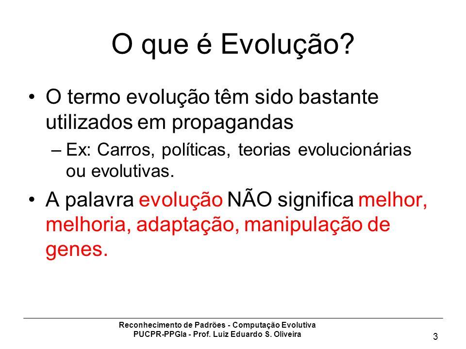 Reconhecimento de Padrões - Computação Evolutiva PUCPR-PPGIa - Prof. Luiz Eduardo S. Oliveira 3 O que é Evolução? O termo evolução têm sido bastante u
