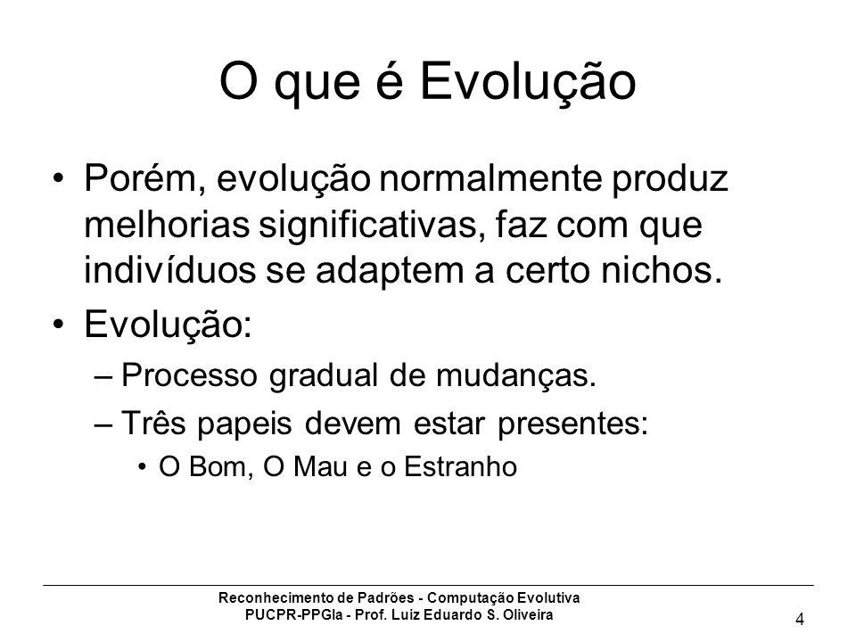 Reconhecimento de Padrões - Computação Evolutiva PUCPR-PPGIa - Prof. Luiz Eduardo S. Oliveira 4 O que é Evolução Porém, evolução normalmente produz me