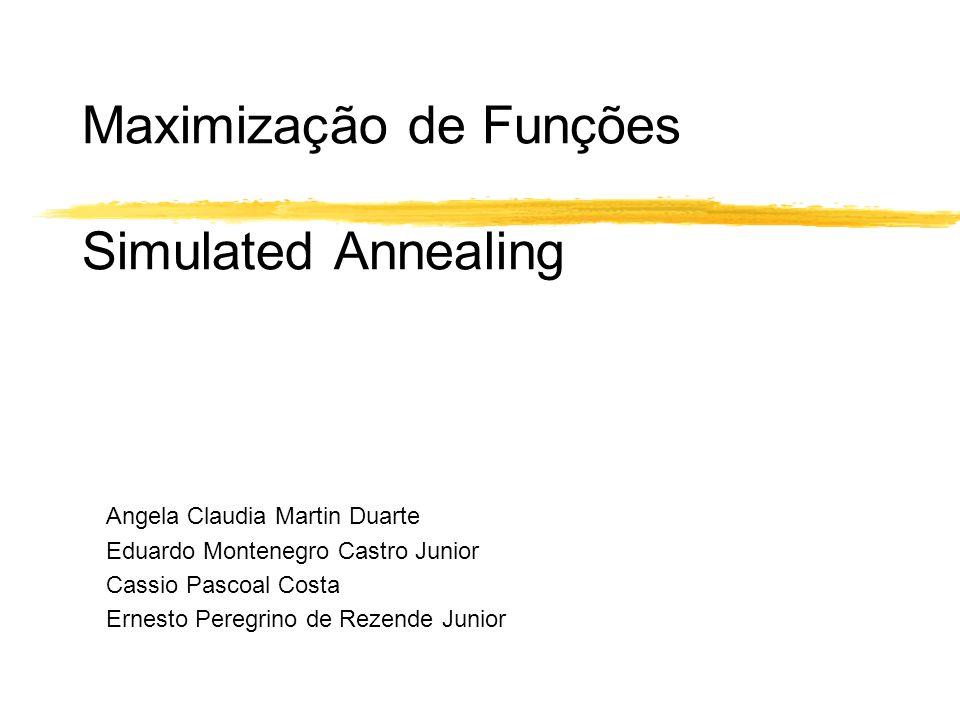 Maximização de Funções Simulated Annealing Angela Claudia Martin Duarte Eduardo Montenegro Castro Junior Cassio Pascoal Costa Ernesto Peregrino de Rez