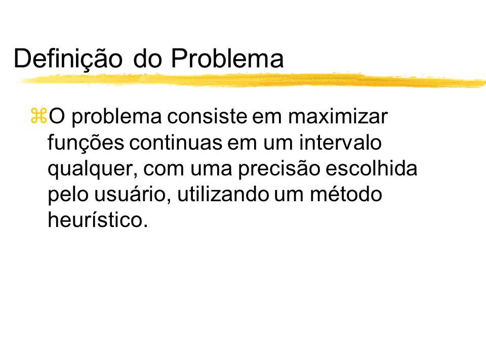 Definição do Problema O problema consiste em maximizar funções continuas em um intervalo qualquer, com uma precisão escolhida pelo usuário, utilizando