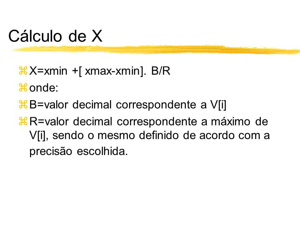 Cálculo de X X=xmin +[ xmax-xmin]. B/R onde: B=valor decimal correspondente a V[i] R=valor decimal correspondente a máximo de V[i], sendo o mesmo defi