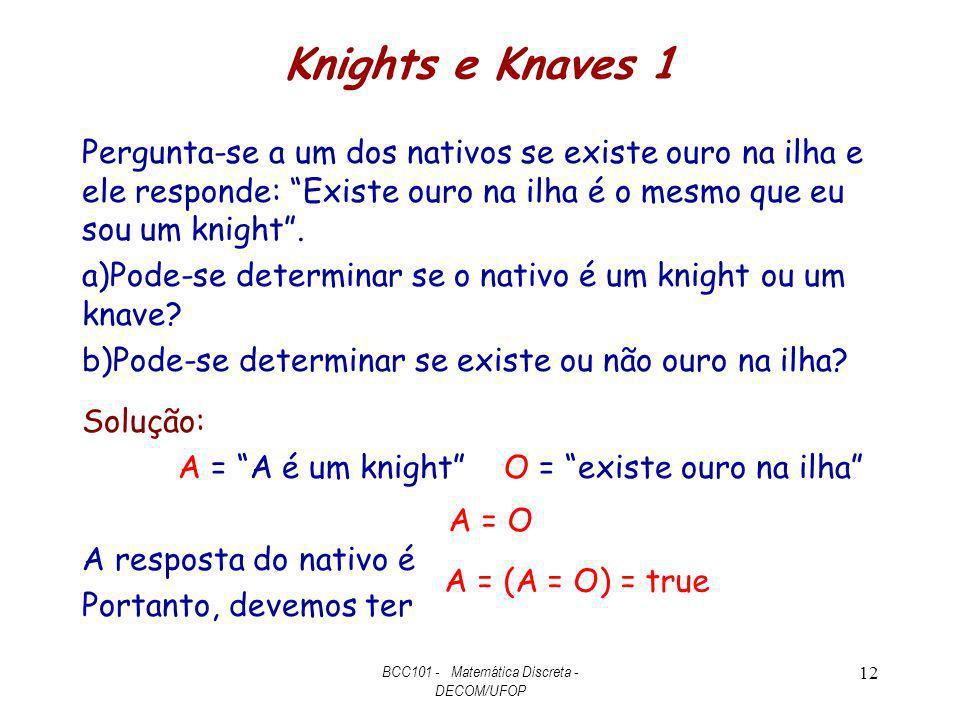 Knights e Knaves 1 Pergunta-se a um dos nativos se existe ouro na ilha e ele responde: Existe ouro na ilha é o mesmo que eu sou um knight. a)Pode-se d