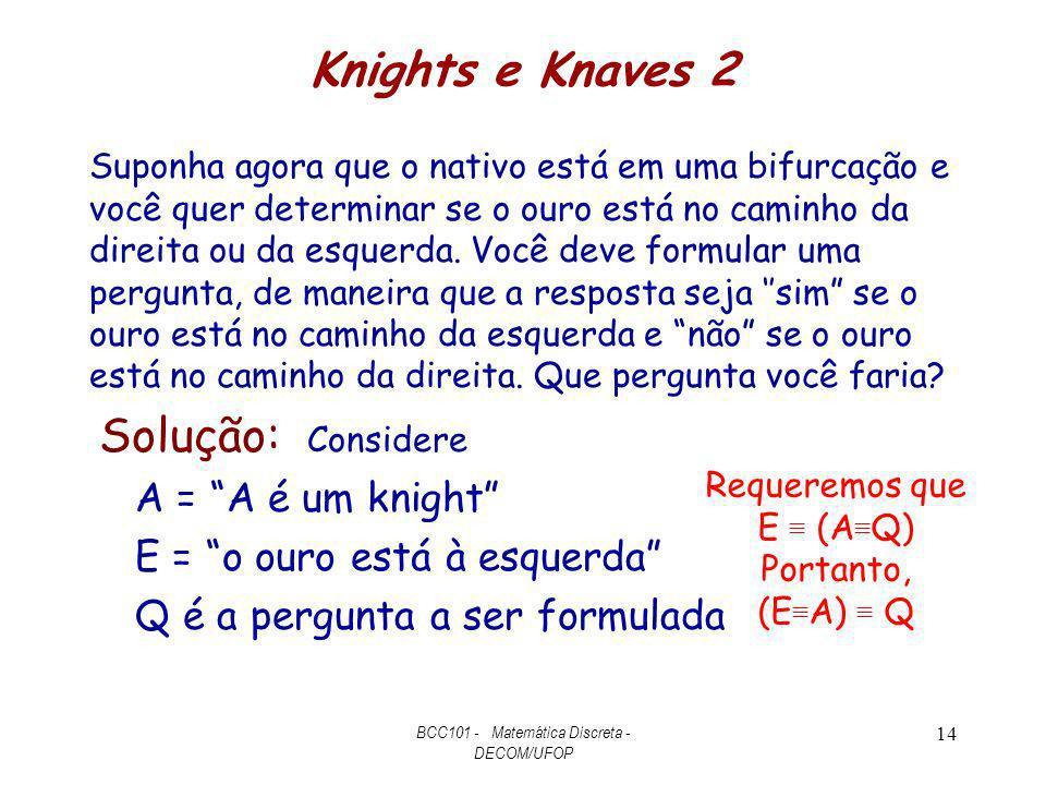 Knights e Knaves 2 Suponha agora que o nativo está em uma bifurcação e você quer determinar se o ouro está no caminho da direita ou da esquerda. Você