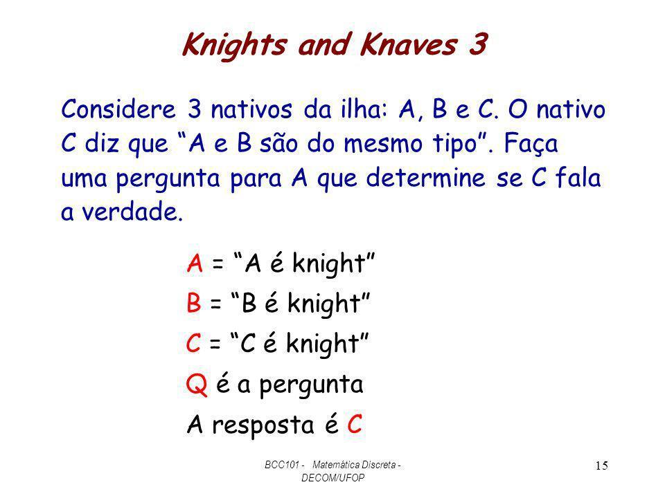 Knights and Knaves 3 Considere 3 nativos da ilha: A, B e C. O nativo C diz que A e B são do mesmo tipo. Faça uma pergunta para A que determine se C fa