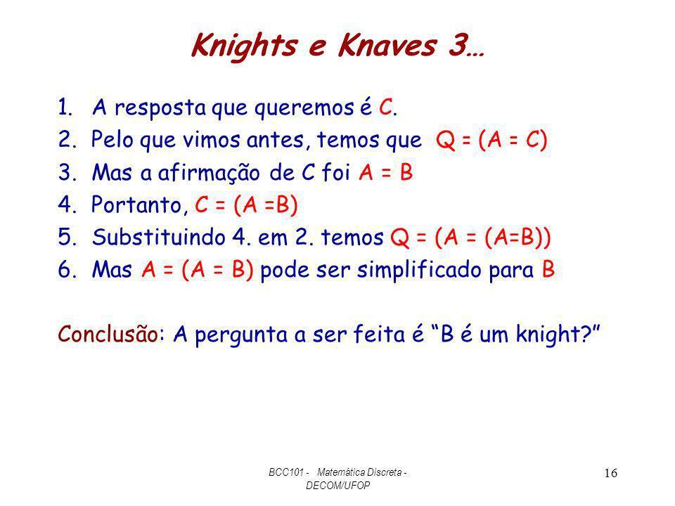 Knights e Knaves 3… 1.A resposta que queremos é C. 2.Pelo que vimos antes, temos que Q = (A = C) 3.Mas a afirmação de C foi A = B 4.Portanto, C = (A =