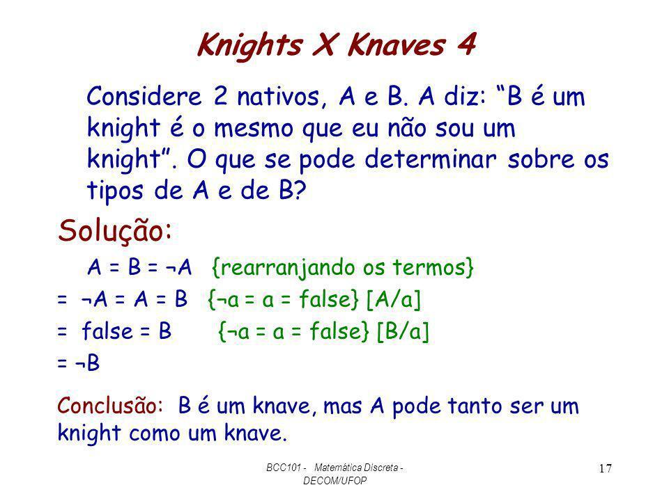 Knights X Knaves 4 Considere 2 nativos, A e B. A diz: B é um knight é o mesmo que eu não sou um knight. O que se pode determinar sobre os tipos de A e