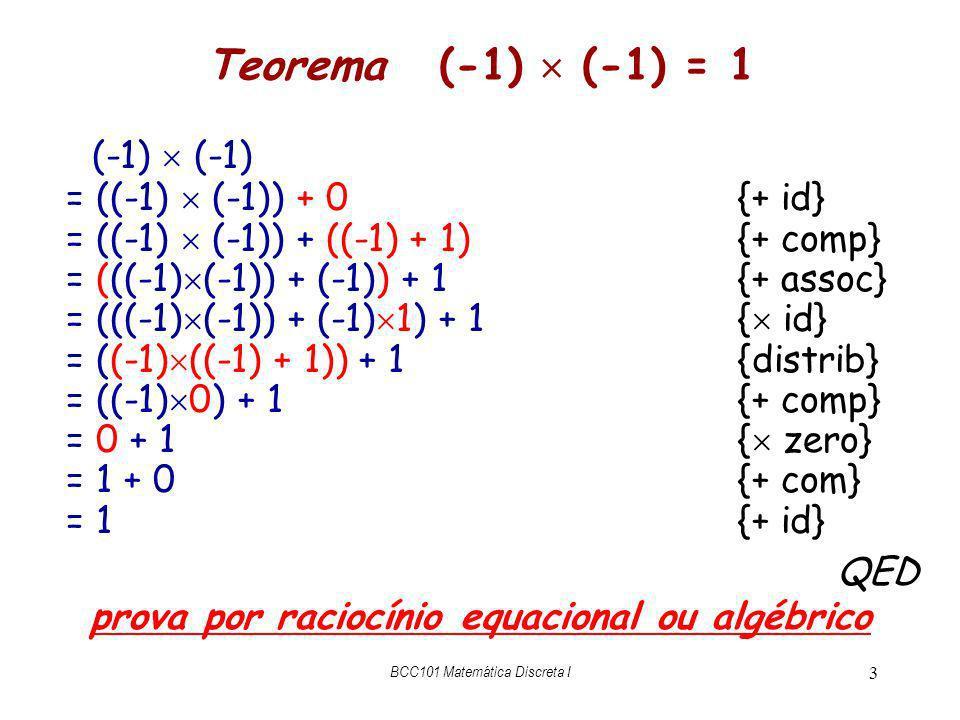 BCC101 Matemática Discreta I 3 Teorema (-1) (-1) = 1 (-1) (-1) = ((-1) (-1)) + 0{+ id} = ((-1) (-1)) + ((-1) + 1){+ comp} = (((-1) (-1)) + (-1)) + 1{+