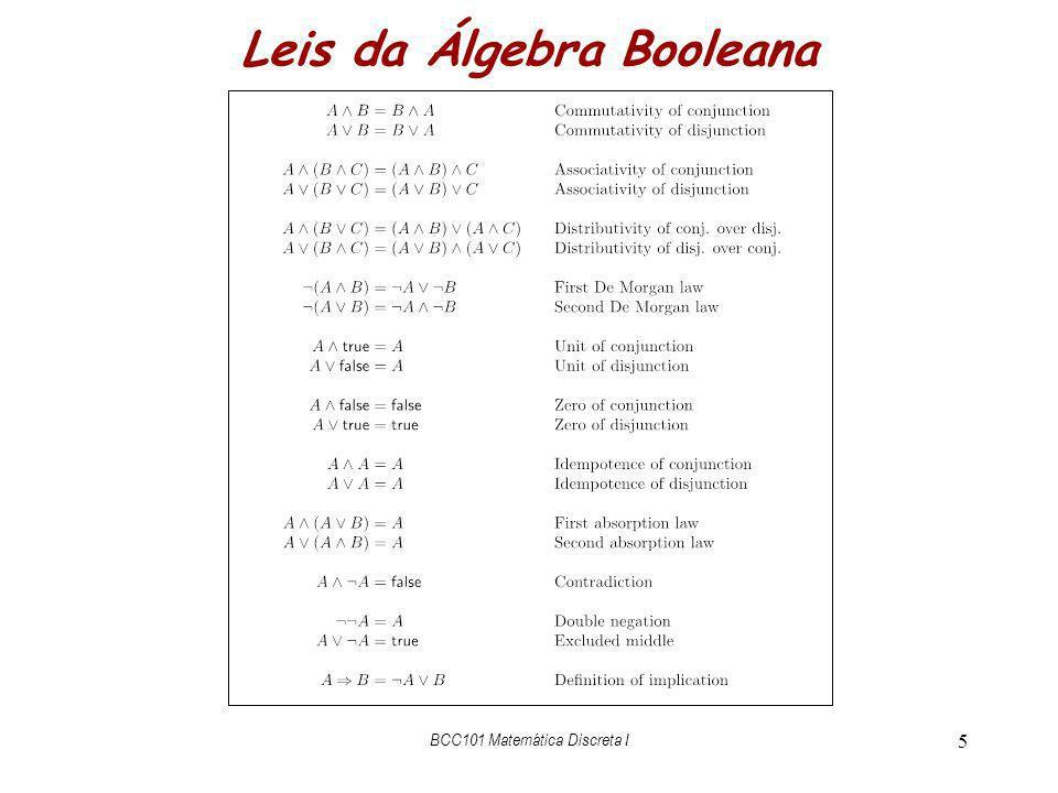 BCC101 Matemática Discreta I 6 Teorema (a false) (b true) = b equações {regra}subst (p false) (q true) novos nomes p/ evidenciar subst.