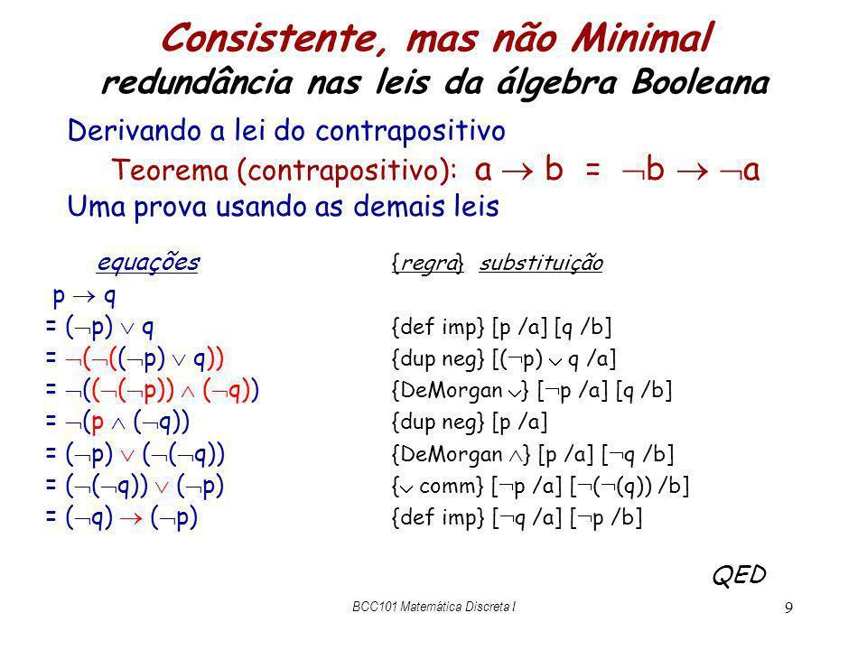 Álgebra Booleana – propriedades do = (a =b) = (b = a) {comut}} ((a = b) = c) = (a = (b = c)) {assoc} true = a = a{true} ¬ a = a = false {false} a a = a{idempotência} a b = b a{comutatividade} (a b) c = a ( b c){associatividade} p ( q = r) = p q = p q{distributividade} p ¬ p = true{terceiro excluído} a b = a = b = a b{definição do } a b = a = a b{definição do } BCC101 Matemática Discreta I 10