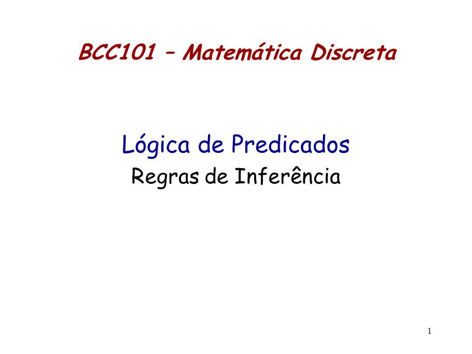 1 BCC101 – Matemática Discreta Lógica de Predicados Regras de Inferência
