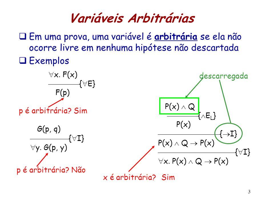 3 Variáveis Arbitrárias Em uma prova, uma variável é arbitrária se ela não ocorre livre em nenhuma hipótese não descartada Exemplos x. F(x) { E} F(p)
