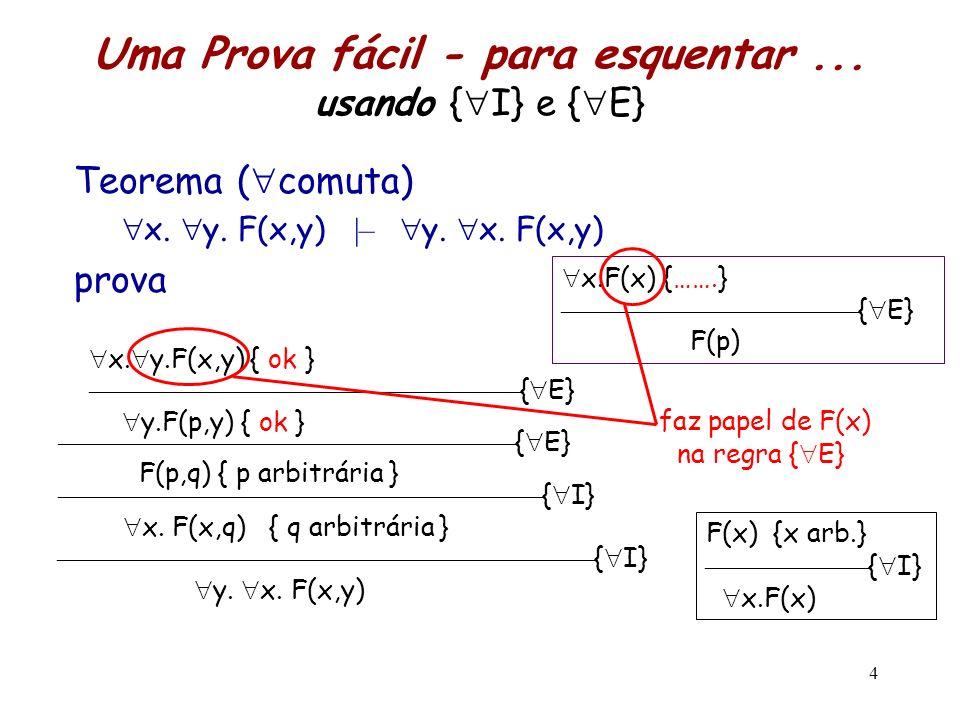 5 x.F(x) F(y)  – A {y não é livre em A} { E} A x.
