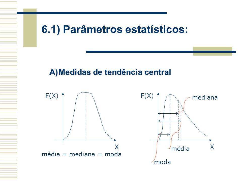 6.1) Parâmetros estatísticos: A)Medidas de tendência central média = mediana = moda X F(X) mediana média X F(X) moda
