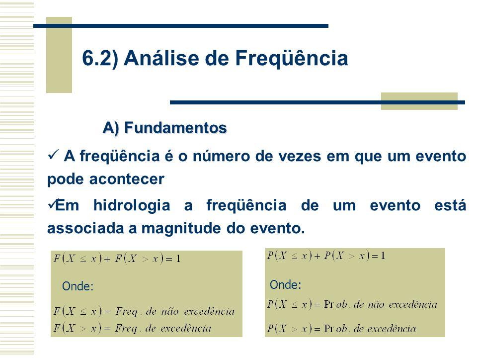 6.2) Análise de Freqüência A) Fundamentos Onde: A freqüência é o número de vezes em que um evento pode acontecer Em hidrologia a freqüência de um evento está associada a magnitude do evento.