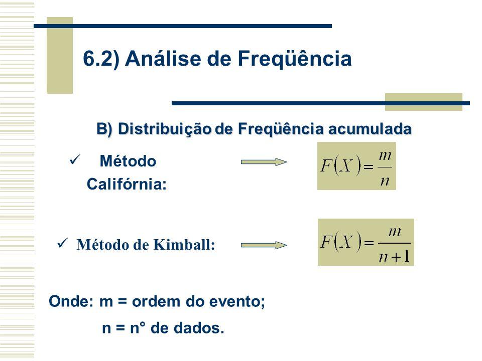 6.2) Análise de Freqüência B) Distribuição de Freqüência acumulada Método Califórnia: Método de Kimball: Onde: m = ordem do evento; n = n° de dados.