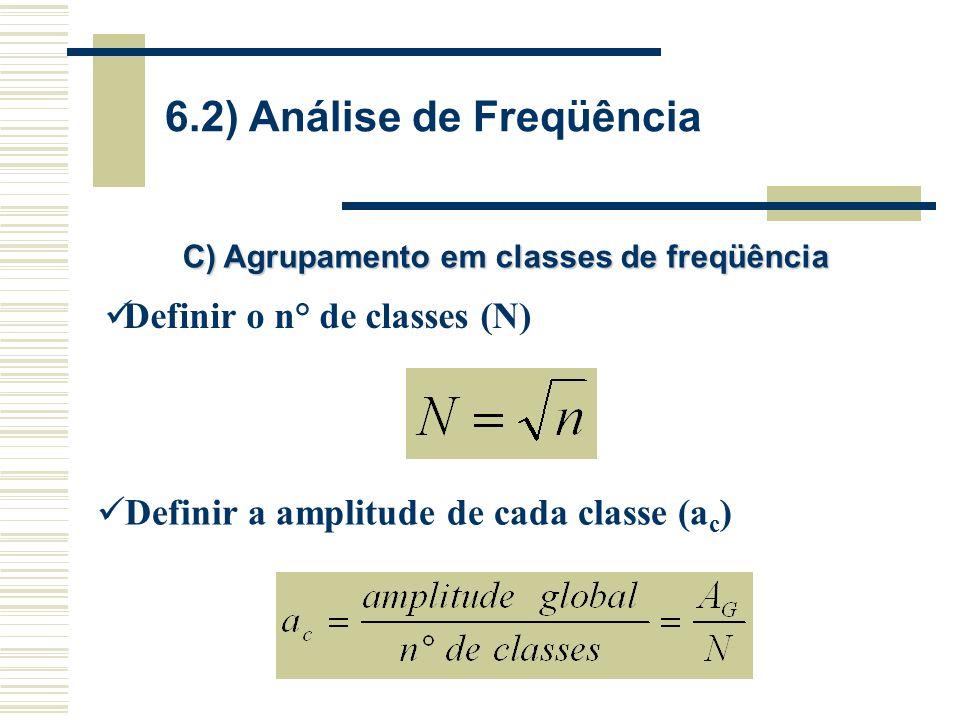 C) Agrupamento em classes de freqüência Definir o n° de classes (N) Definir a amplitude de cada classe (a c )