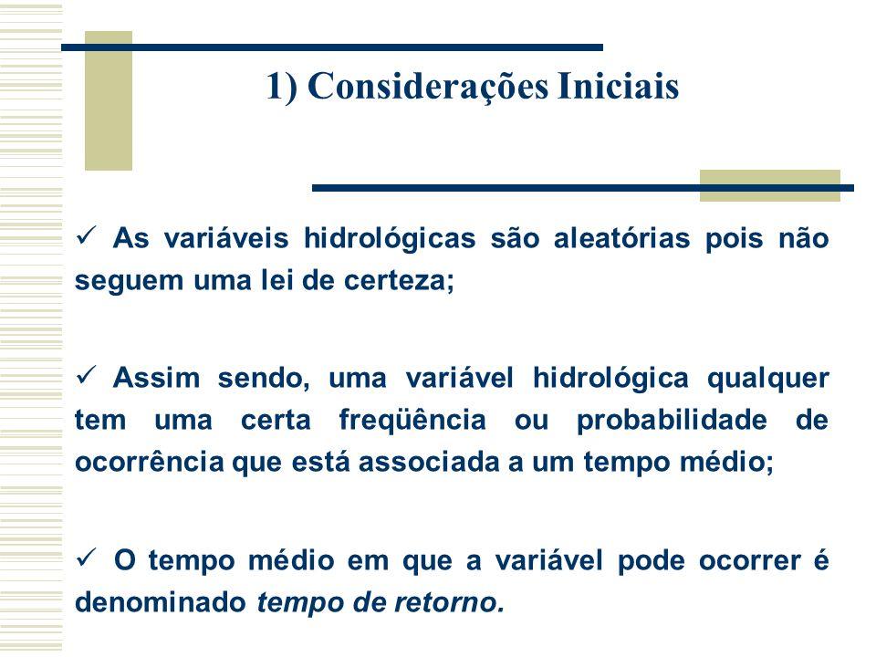 1) Considerações Iniciais As variáveis hidrológicas são aleatórias pois não seguem uma lei de certeza; Assim sendo, uma variável hidrológica qualquer tem uma certa freqüência ou probabilidade de ocorrência que está associada a um tempo médio; O tempo médio em que a variável pode ocorrer é denominado tempo de retorno.