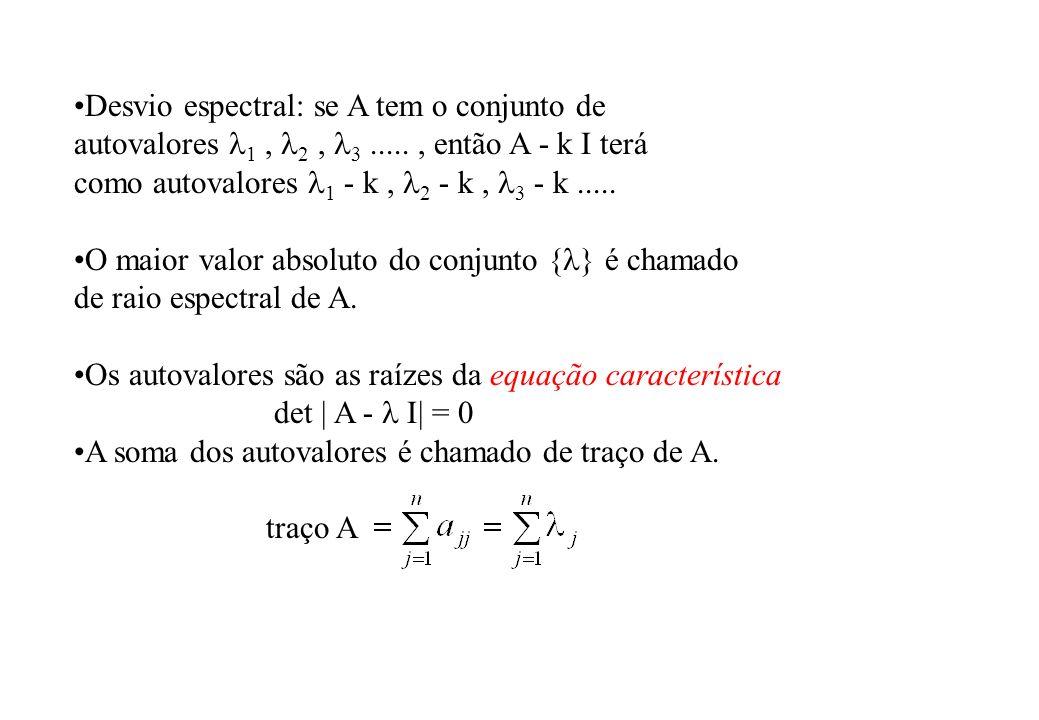 Desvio espectral: se A tem o conjunto de autovalores 1, 2, 3....., então A - k I terá como autovalores 1 - k, 2 - k, 3 - k..... O maior valor absoluto