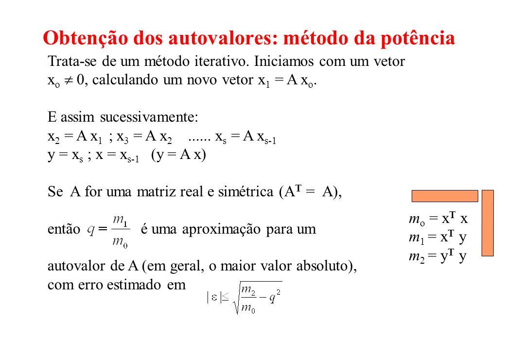 Obtenção dos autovalores: método da potência Trata-se de um método iterativo. Iniciamos com um vetor x o 0, calculando um novo vetor x 1 = A x o. E as