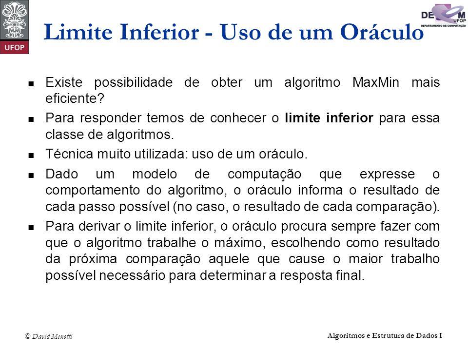 © David Menotti Algoritmos e Estrutura de Dados I Teorema: Qualquer algoritmo para encontrar o maior e o menor elemento de um conjunto com n elementos não ordenados, n>1, faz pelo menos 3n/2 - 2 comparações.