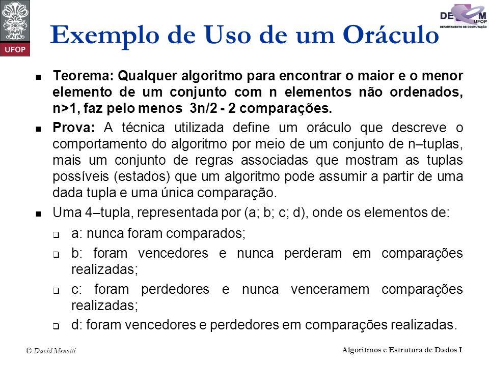 © David Menotti Algoritmos e Estrutura de Dados I Teorema: Qualquer algoritmo para encontrar o maior e o menor elemento de um conjunto com n elementos