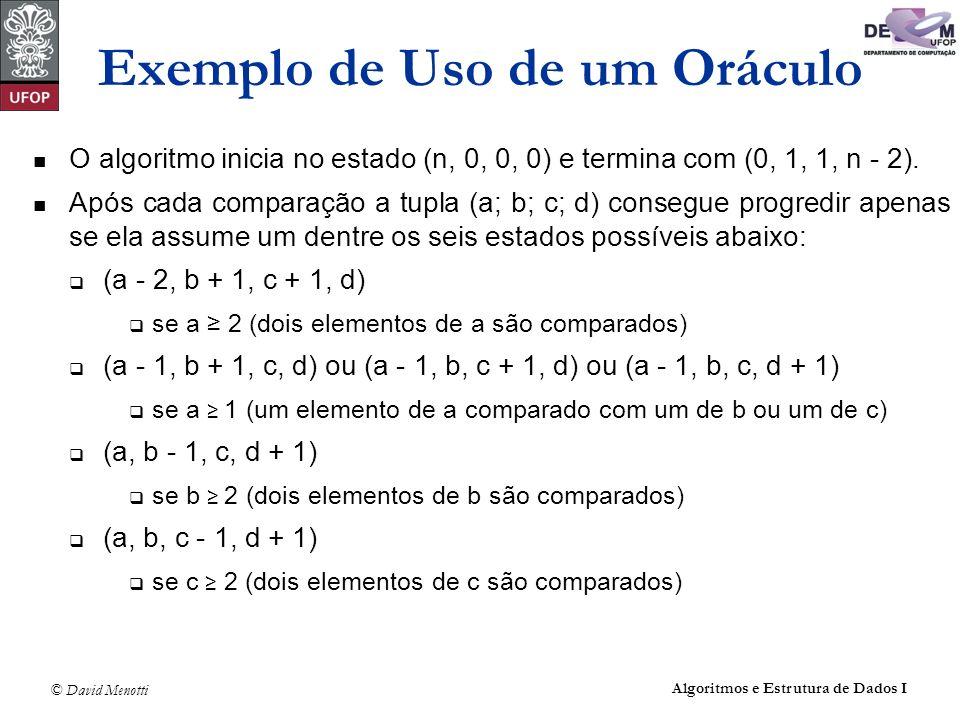 © David Menotti Algoritmos e Estrutura de Dados I O algoritmo inicia no estado (n, 0, 0, 0) e termina com (0, 1, 1, n - 2). Após cada comparação a tup