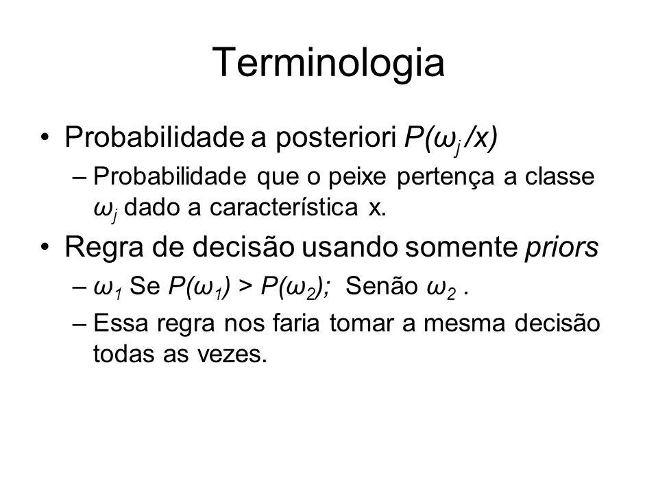 Terminologia Probabilidade a posteriori P(ω j /x) –Probabilidade que o peixe pertença a classe ω j dado a característica x. Regra de decisão usando so
