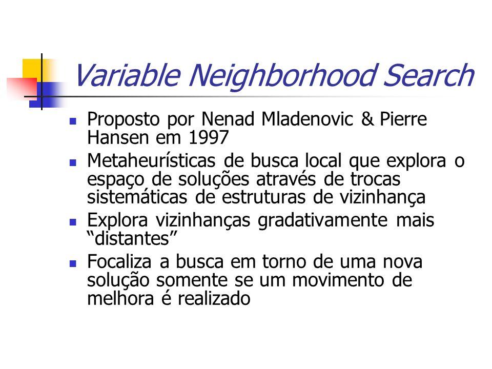 Variable Neighborhood Search Proposto por Nenad Mladenovic & Pierre Hansen em 1997 Metaheurísticas de busca local que explora o espaço de soluções atr