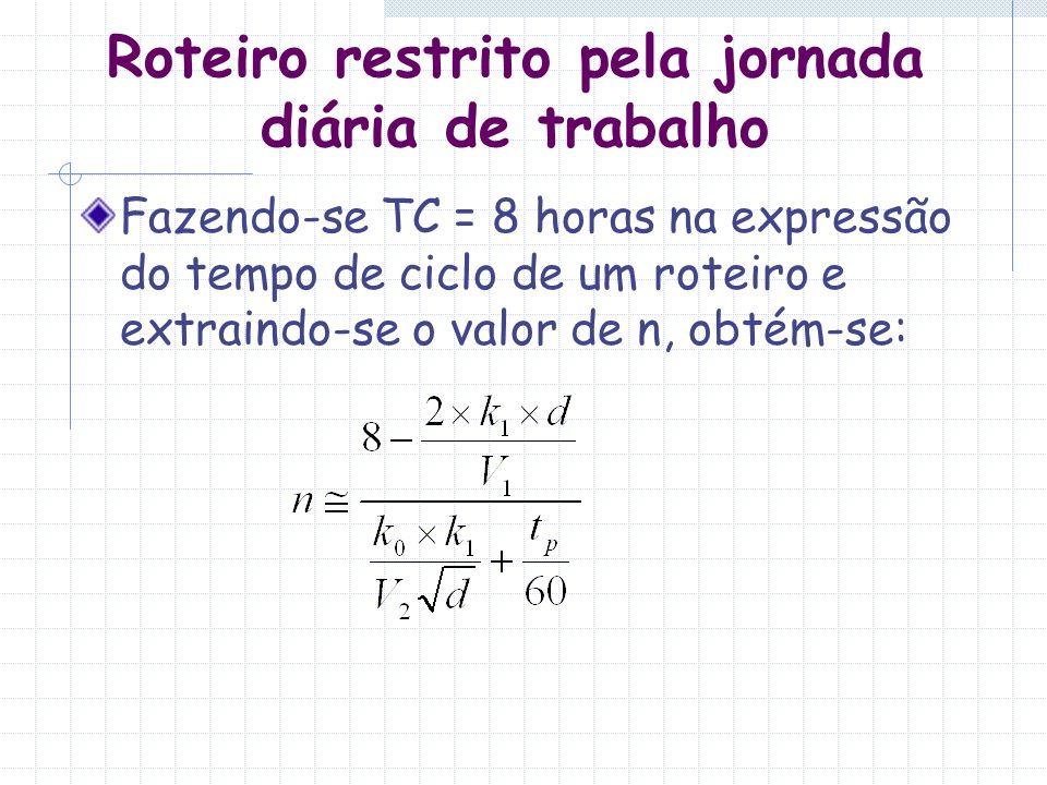 Roteiro restrito pela jornada diária de trabalho Fazendo-se TC = 8 horas na expressão do tempo de ciclo de um roteiro e extraindo-se o valor de n, obt
