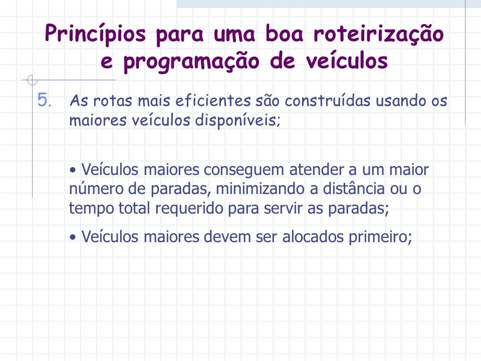 Princípios para uma boa roteirização e programação de veículos 5. As rotas mais eficientes são construídas usando os maiores veículos disponíveis; Veí