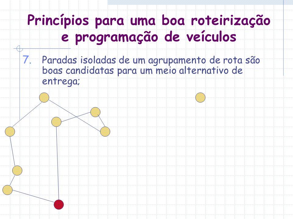 Princípios para uma boa roteirização e programação de veículos 7. Paradas isoladas de um agrupamento de rota são boas candidatas para um meio alternat