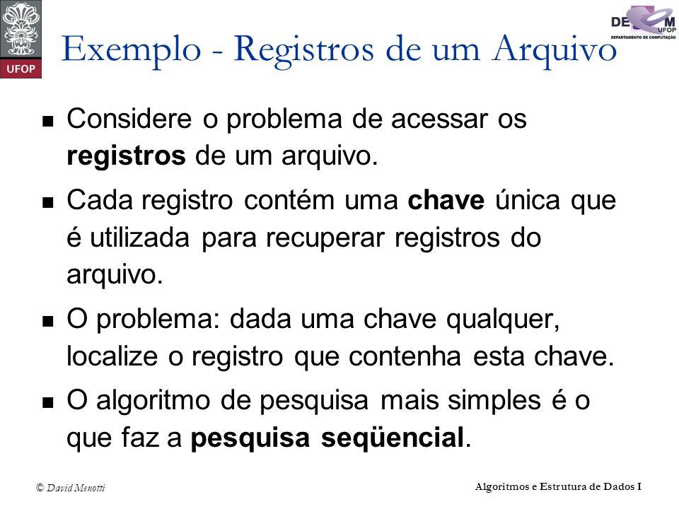 © David Menotti Algoritmos e Estrutura de Dados I Exemplo - Registros de um Arquivo Considere o problema de acessar os registros de um arquivo. Cada r