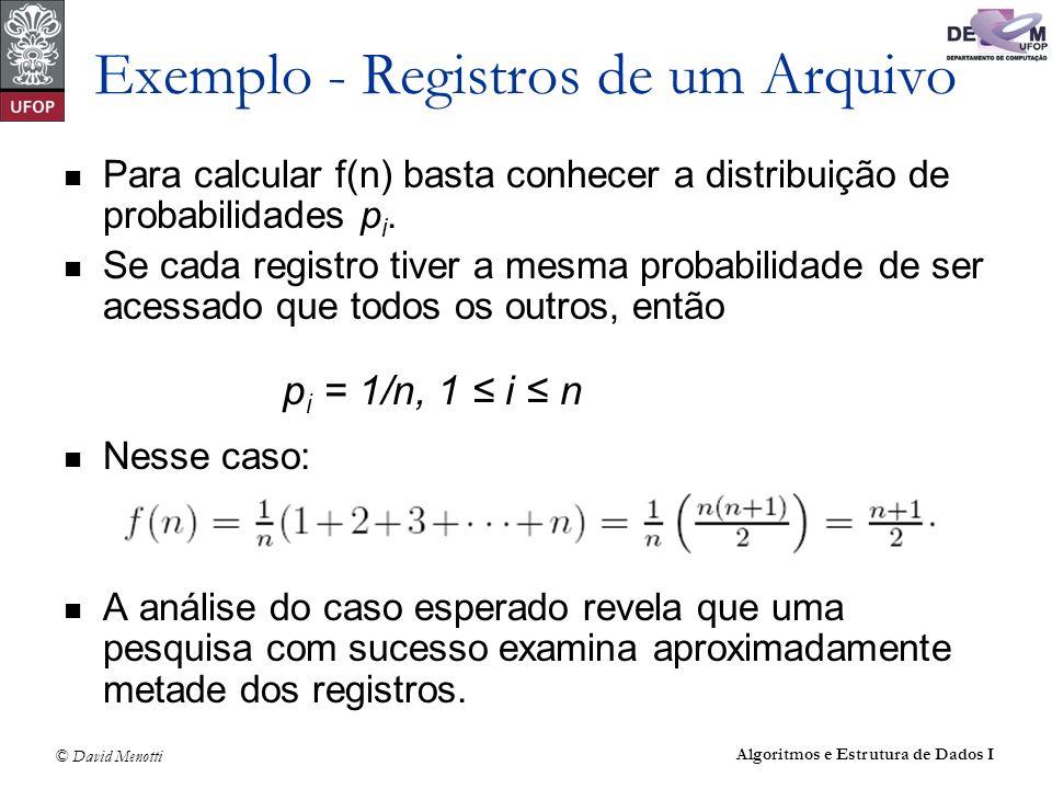 © David Menotti Algoritmos e Estrutura de Dados I Exemplo - Registros de um Arquivo Para calcular f(n) basta conhecer a distribuição de probabilidades