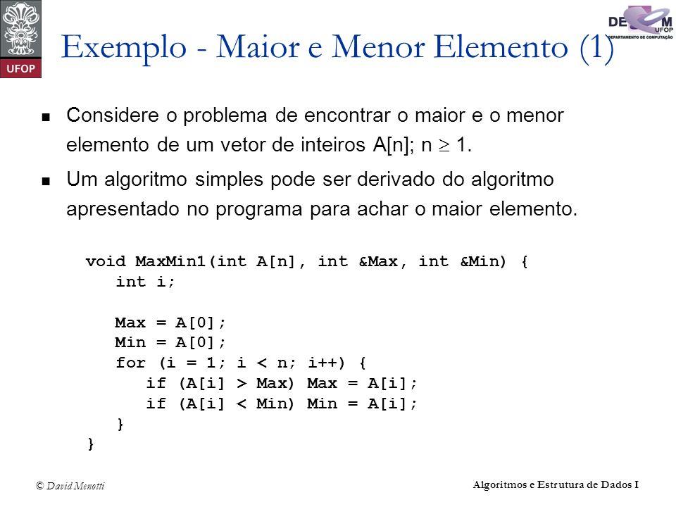 © David Menotti Algoritmos e Estrutura de Dados I Exemplo - Maior e Menor Elemento (1) Considere o problema de encontrar o maior e o menor elemento de