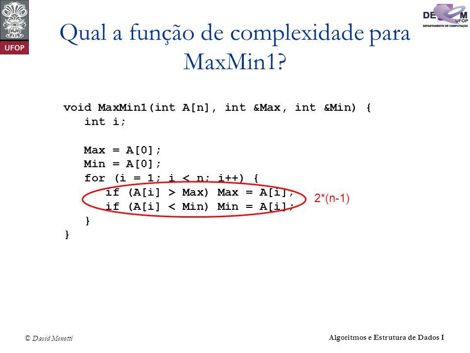 © David Menotti Algoritmos e Estrutura de Dados I Qual a função de complexidade para MaxMin1? void MaxMin1(int A[n], int &Max, int &Min) { int i; Max