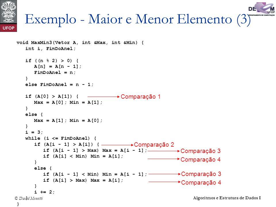 © David Menotti Algoritmos e Estrutura de Dados I Exemplo - Maior e Menor Elemento (3) void MaxMin3(Vetor A, int &Max, int &Min) { int i, FimDoAnel; i