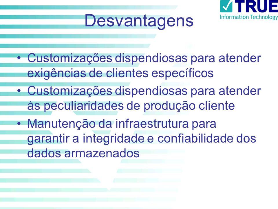 Desvantagens Customizações dispendiosas para atender exigências de clientes específicos Customizações dispendiosas para atender às peculiaridades de p
