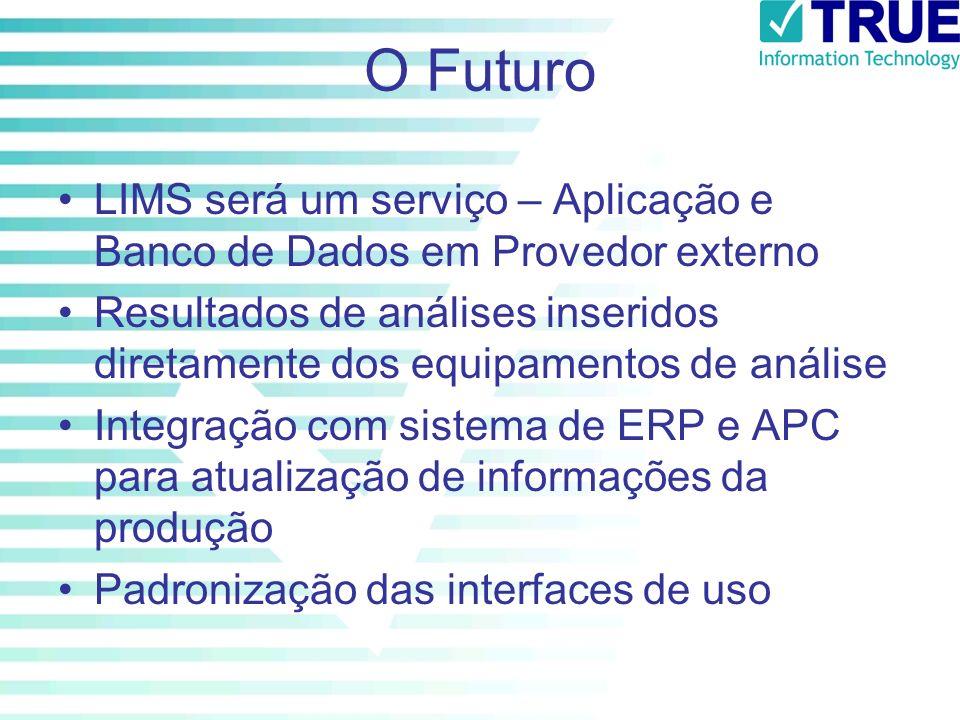O Futuro LIMS será um serviço – Aplicação e Banco de Dados em Provedor externo Resultados de análises inseridos diretamente dos equipamentos de anális