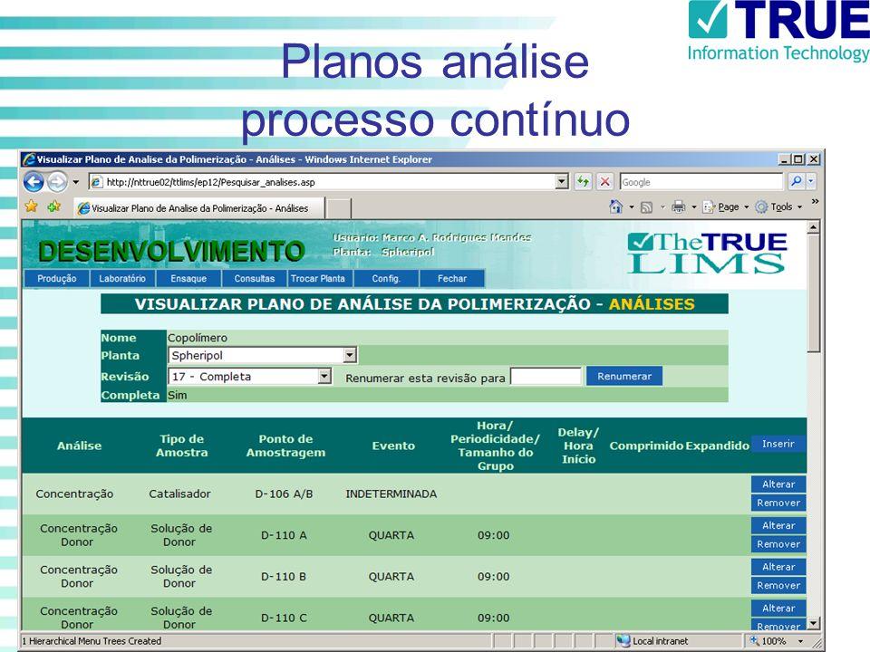 Planos análise processo contínuo