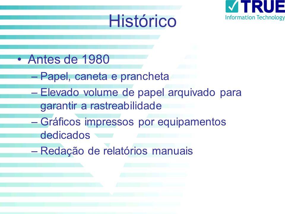Histórico Antes de 1980 –Papel, caneta e prancheta –Elevado volume de papel arquivado para garantir a rastreabilidade –Gráficos impressos por equipame