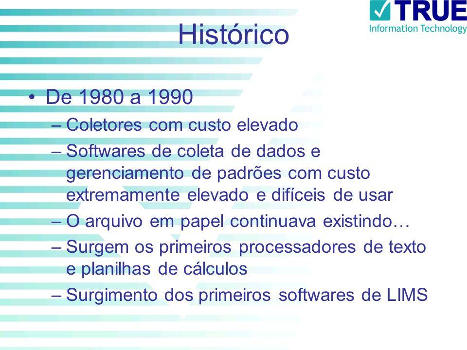 Histórico De 1980 a 1990 –Coletores com custo elevado –Softwares de coleta de dados e gerenciamento de padrões com custo extremamente elevado e difíce