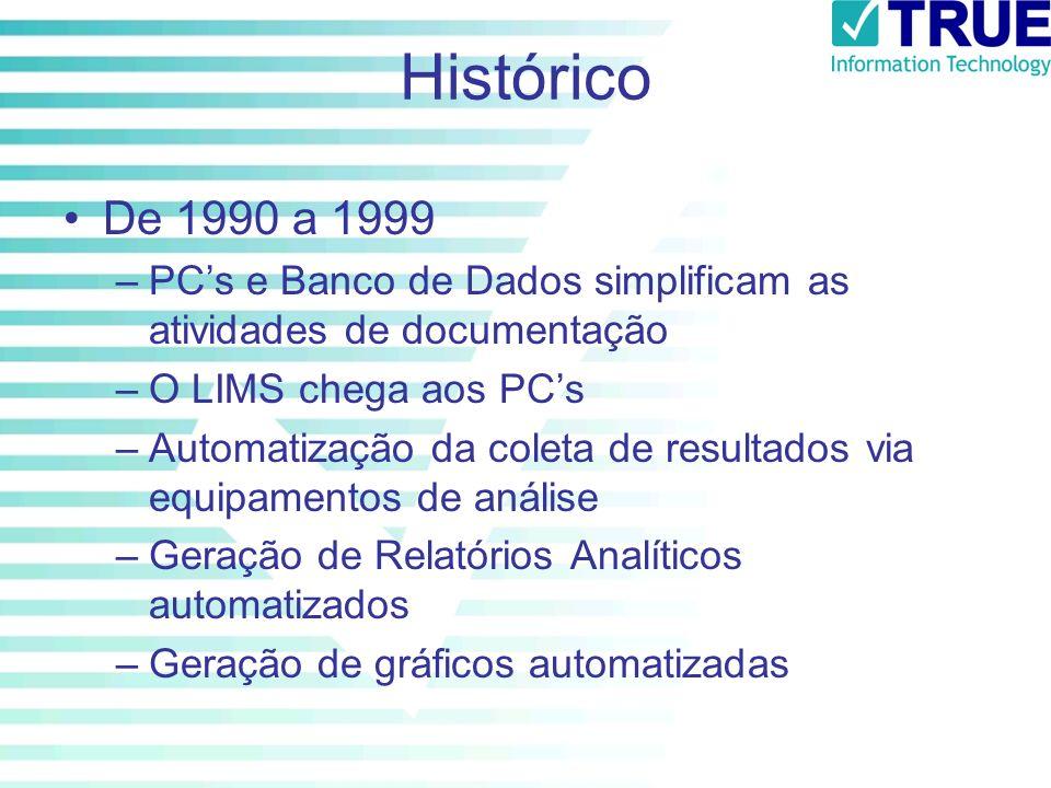 Histórico De 1990 a 1999 –PCs e Banco de Dados simplificam as atividades de documentação –O LIMS chega aos PCs –Automatização da coleta de resultados
