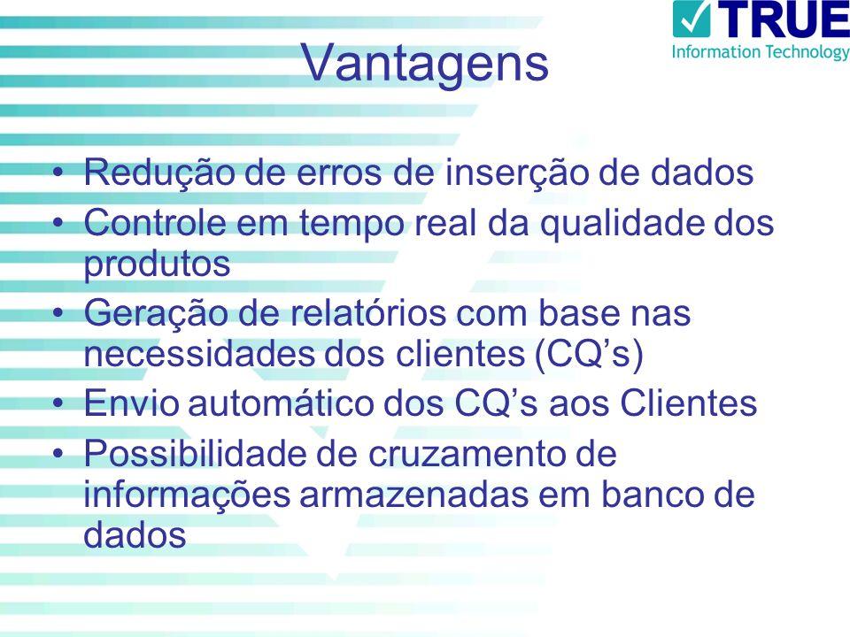 Vantagens Redução de erros de inserção de dados Controle em tempo real da qualidade dos produtos Geração de relatórios com base nas necessidades dos c