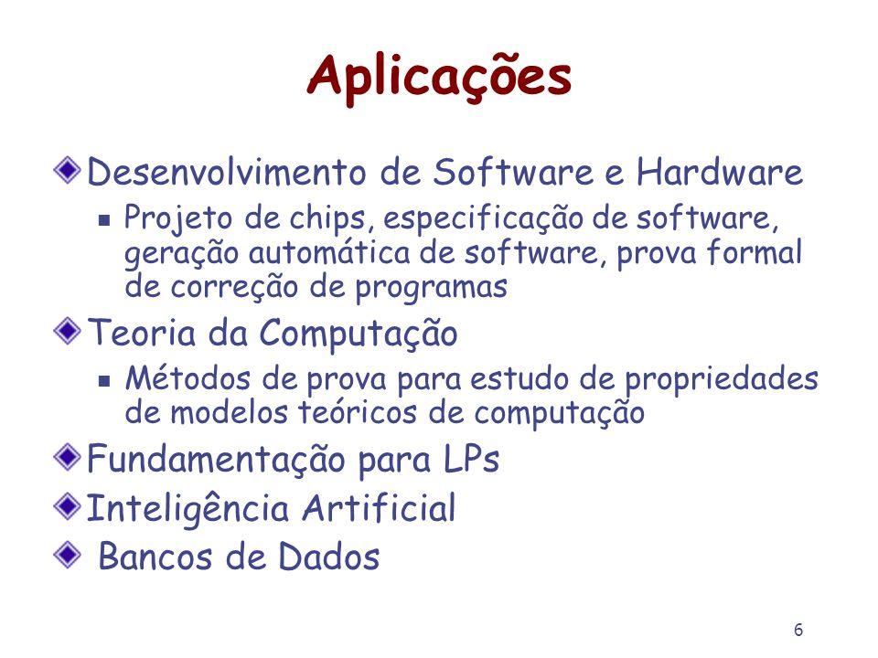 6 Aplicações Desenvolvimento de Software e Hardware Projeto de chips, especificação de software, geração automática de software, prova formal de corre