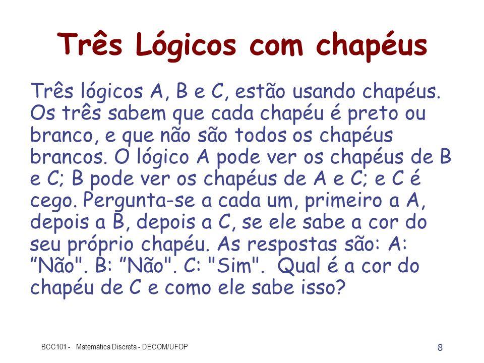 8 BCC101 - Matemática Discreta - DECOM/UFOP Três Lógicos com chapéus Três lógicos A, B e C, estão usando chapéus. Os três sabem que cada chapéu é pret
