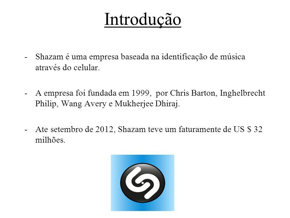 Introdução -Shazam é uma empresa baseada na identificação de música através do celular. -A empresa foi fundada em 1999, por Chris Barton, Inghelbrecht