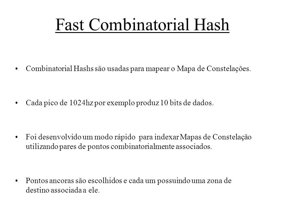 Fast Combinatorial Hash Combinatorial Hashs são usadas para mapear o Mapa de Constelações. Cada pico de 1024hz por exemplo produz 10 bits de dados. Fo